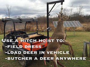 Use a hitch hoist to load a deer to your ATV, your truck, or to create an ad hoc butchering station.