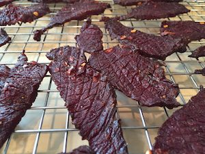 This bourbon venison jerky is sweet with just a touch of heat.