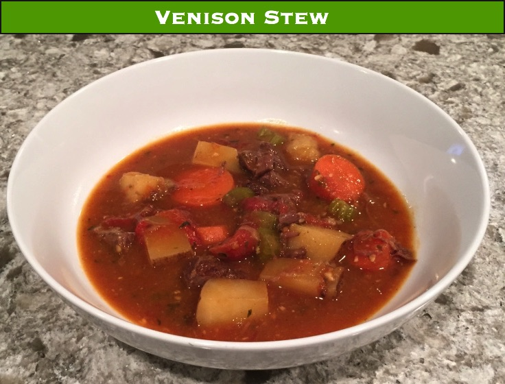 A hearty venison stew with slow cooked tender meat.