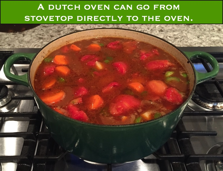 Cooking stew in a dutch oven IN the oven helps prevent scorching.