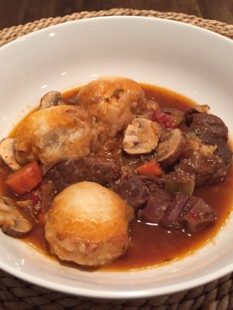 Venison Shank Stew with Parmesan Dumplings