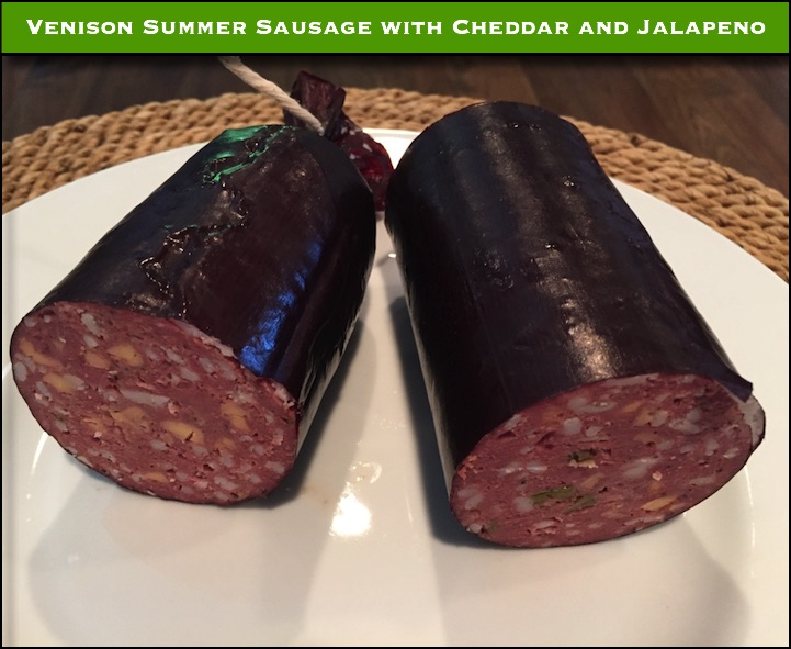 Venison Summer Sausage with a little beef fat added.